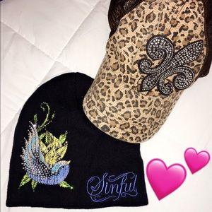 Sinful & buckle leopard Beenie & baseball hat 💜